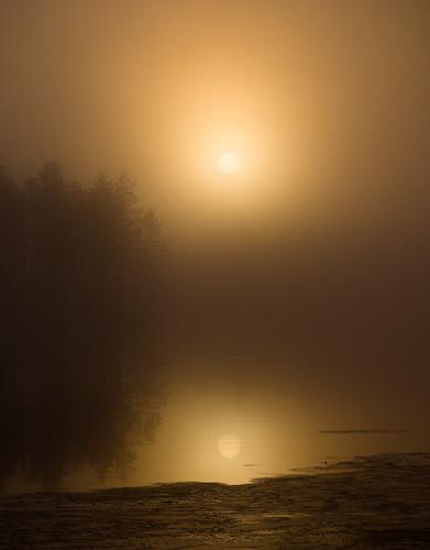 Soluppgång vid Stamsjöbron, Åsele