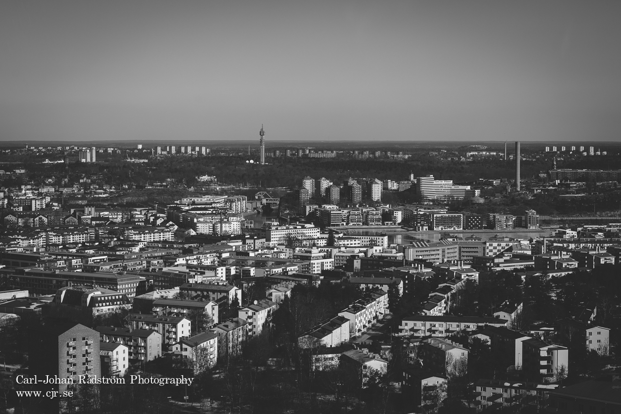 View over Stockholm from top of Stockholm Globe arena