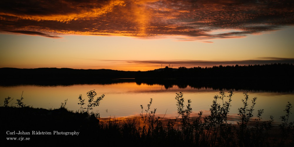 Sunset over lake Stamsjön